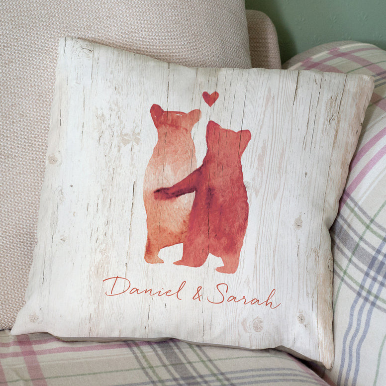 Bear couple cushion - ruby