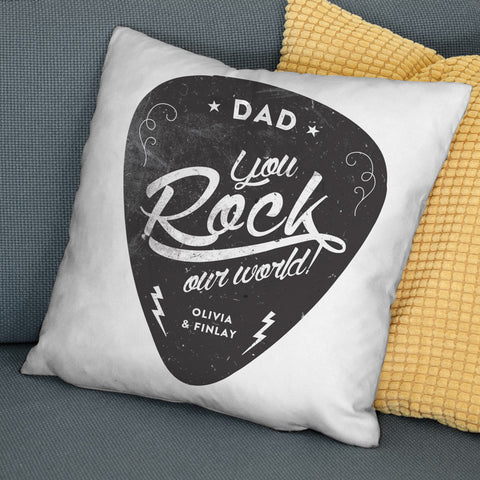'You Rock My World' Personalised Cushion