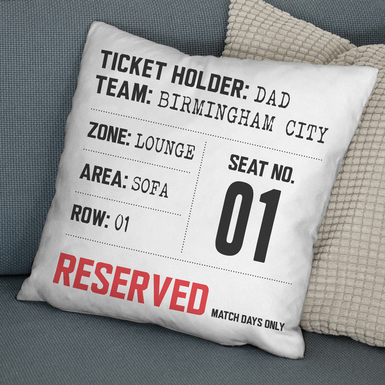 Match Day Seat Reservation Personalised Cushion