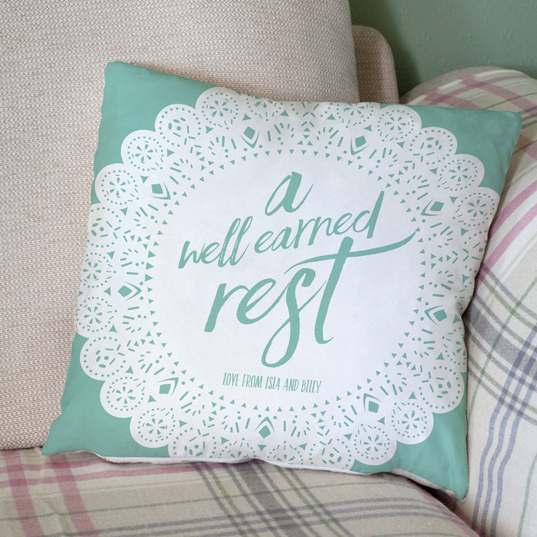 'A Well Earned Rest' Personalised Cushion
