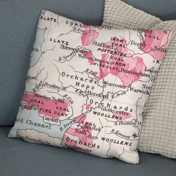Personalised British Isles Vintage Map Cushion
