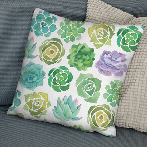Succulents Faux Suede Cushion