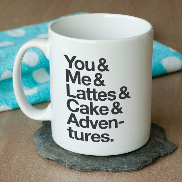 Typographic 'Favourite Things' Personalised Mug