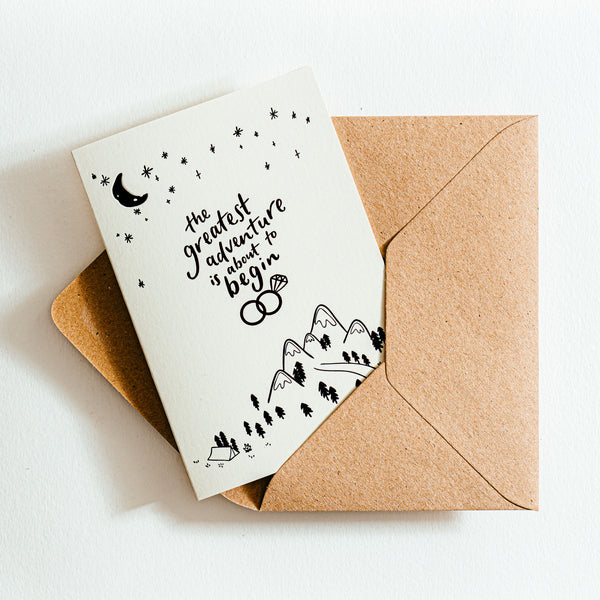 'The Greatest Adventure Is About To Begin' Recycled Coffee Cup Card