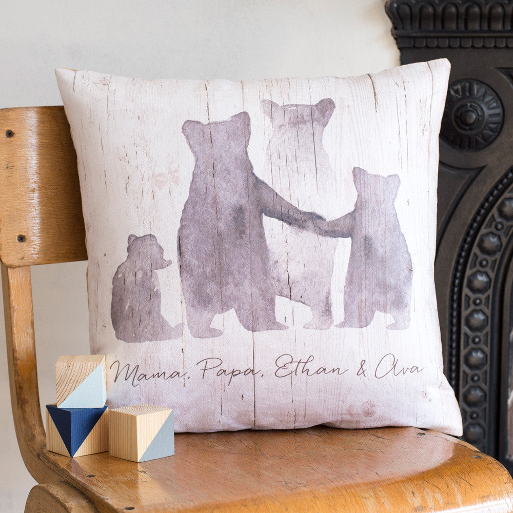 Personalised 'Bear Family' Cushion in Faux Suede or Organic Cotton