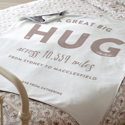Personalised 'Hug Across The Miles' Luxury Blanket