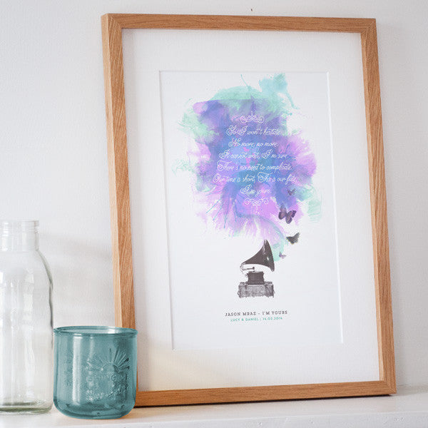Personalised Song Lyrics Print – The Drifting Bear Co.