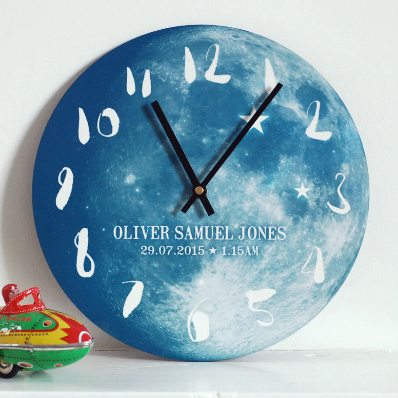 Personalised New Baby Phase of the Moon Clock