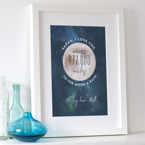 Love You Across The Miles To The Moon And Back Print