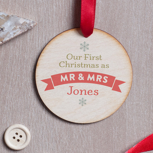 Personalised First Christmas as Mr & Mrs Photo Decoration