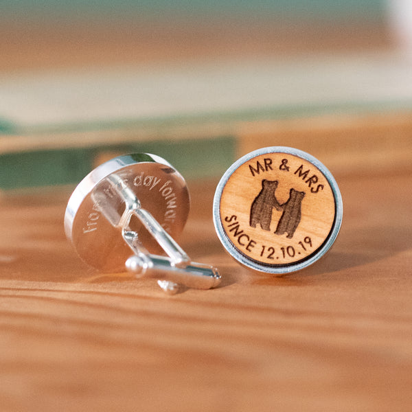 Bear Couple Personalised Wedding Cufflinks