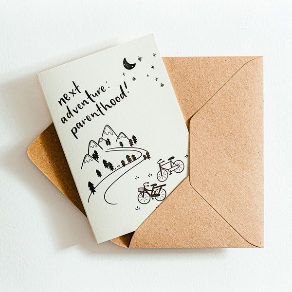 'Next Adventure Parenthood' Recycled Coffee Cup Card