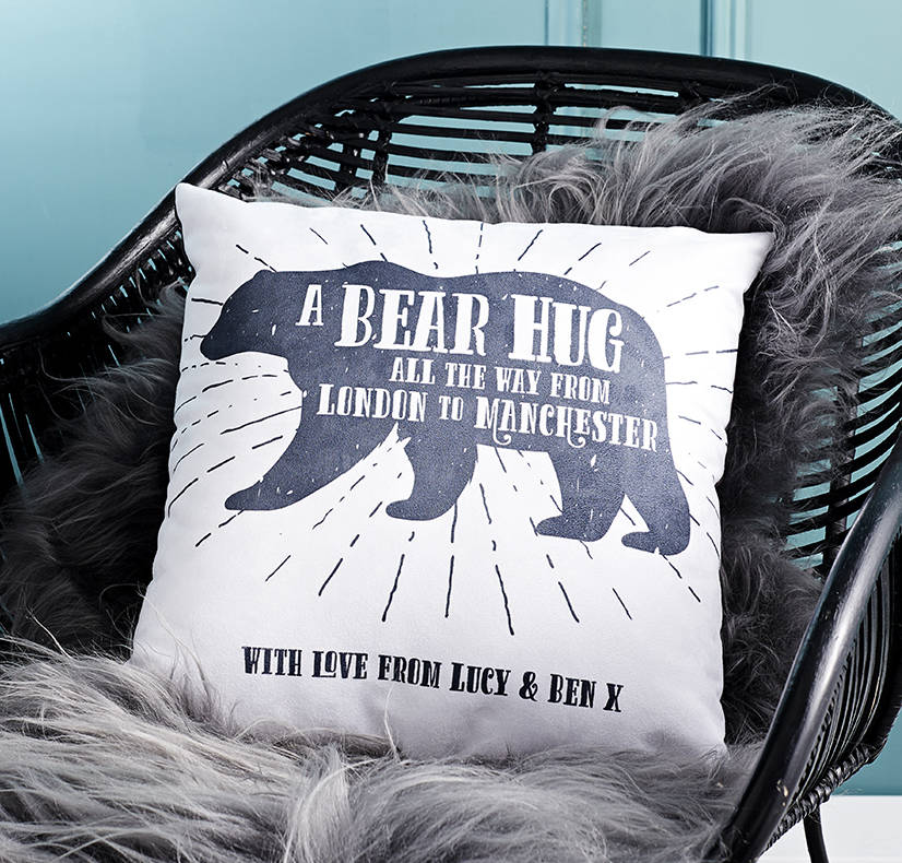 'A Bear Hug From' Personalised Locations Cushion