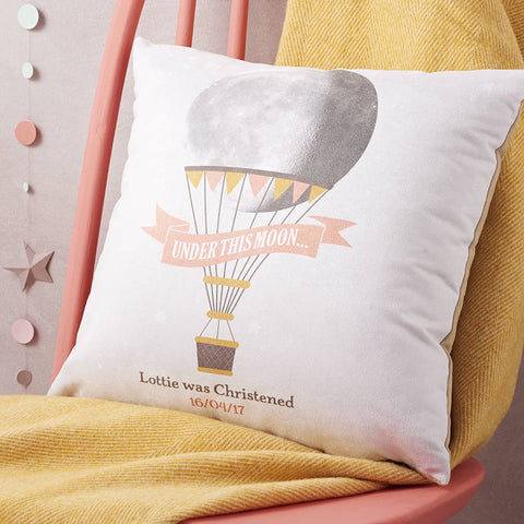 Child's Personalised Hot Air Balloon Moon Cushion