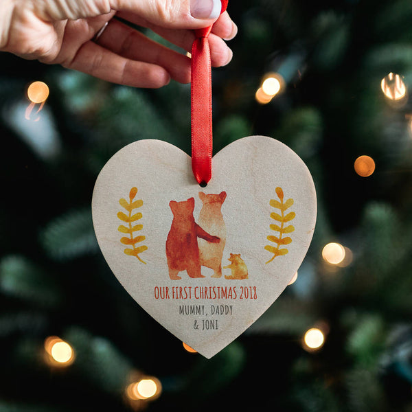 Baby's First Christmas Bear Family Heart Decoration