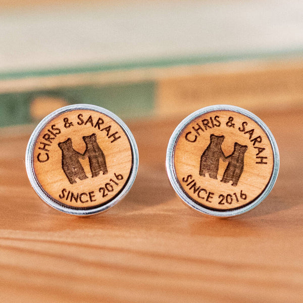 Bear Couple Personalised Cufflinks