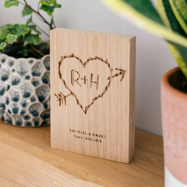 Carved Heart And Initials Engraved Oak Wood Block