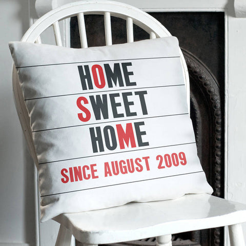 Personalised Home Sweet Home Cinema Marquee Cushion