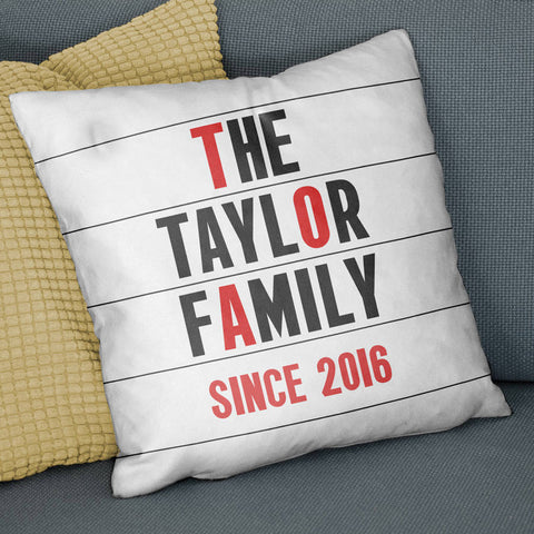 Personalised Family Name Cinema Marquee Cushion