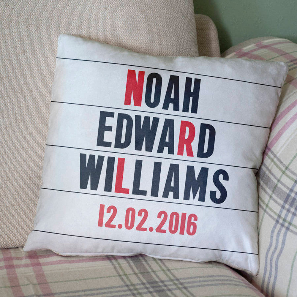 Personalised New Baby Cinema Marquee Cushion