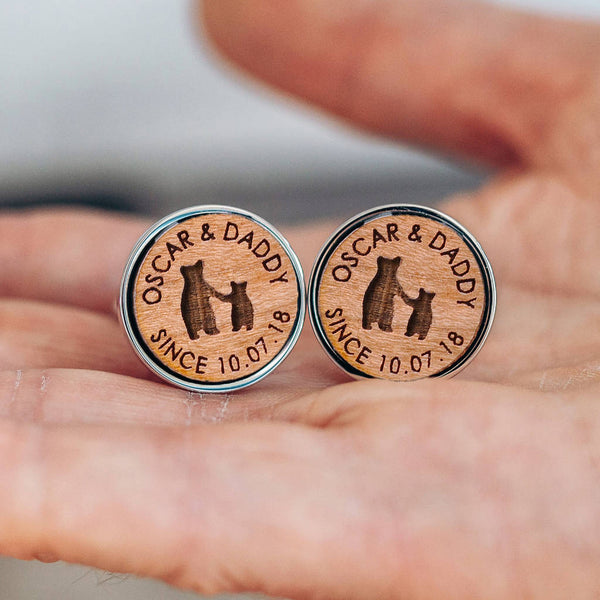 Daddy And Child Bear 'Since…' Personalised Cufflinks