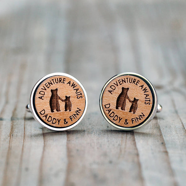 'Adventure Awaits' Daddy And Child Bear Cufflinks