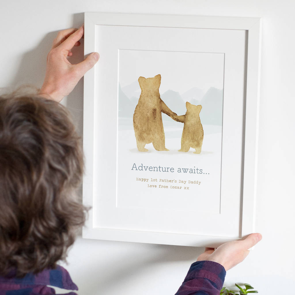 Personalised 'Father And Child' Bear Print