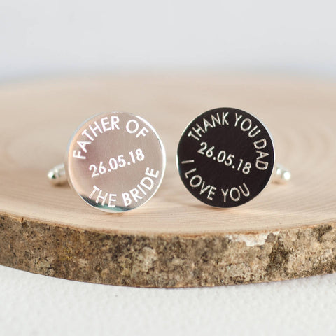 'Father Of The Bride Or Groom' Wedding Date Cufflinks