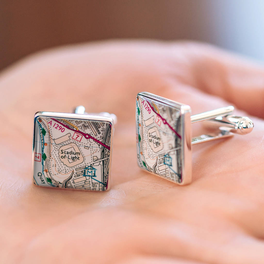 Favourite Place Football Stadium Map Cufflinks For Dad