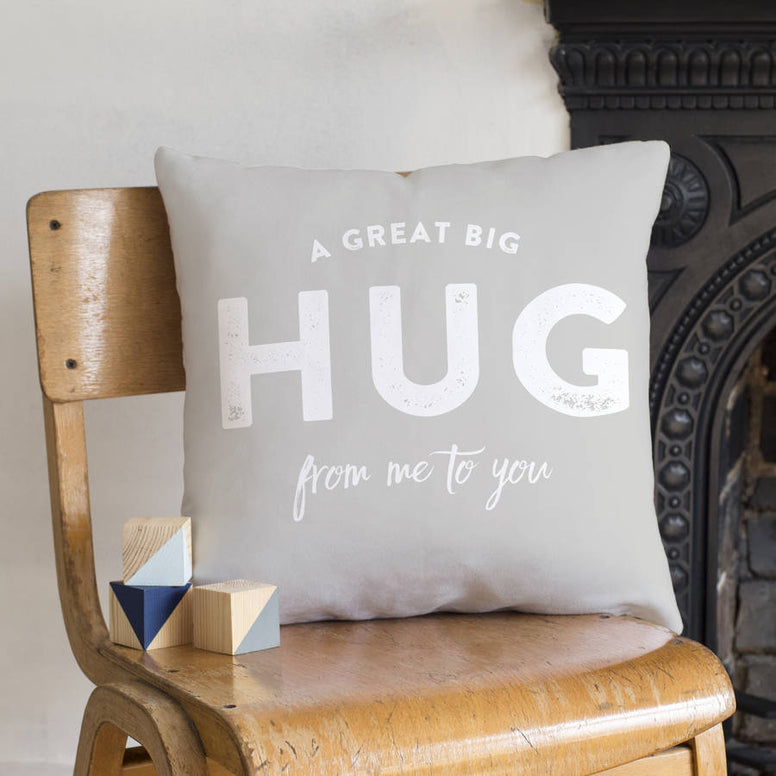 'A Hug From Me To You' Faux Suede Cushion