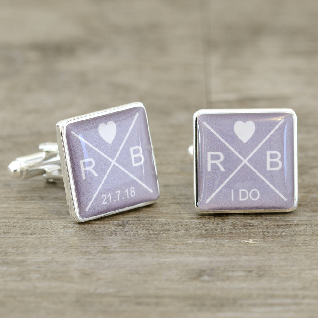 Initials And Date 'I Do' Wedding Day Cufflinks