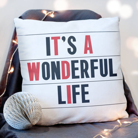 It's A Wonderful Life Cinema Marquee Christmas Cushion