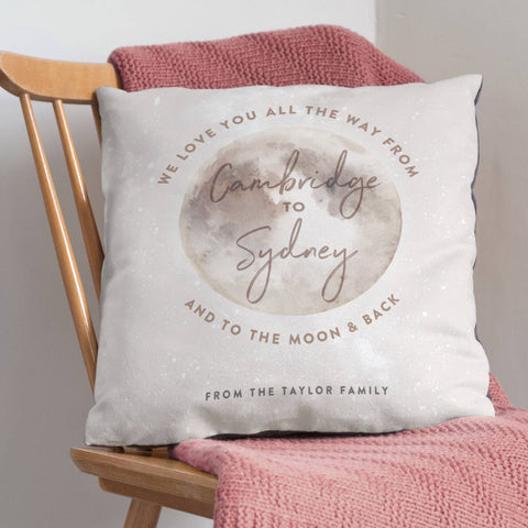 'Love You To The Moon And Back' Locations Cushion