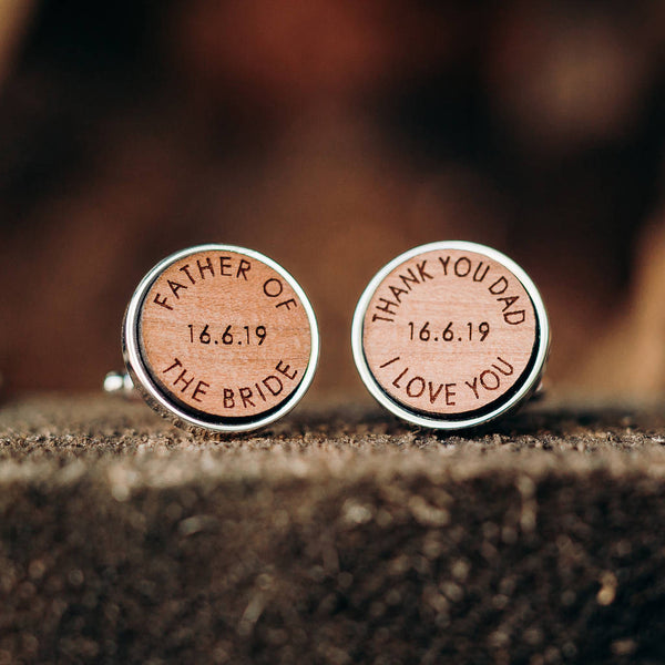 Own Words And Secret Message Wooden Cufflinks