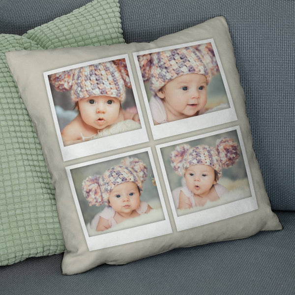 Personalised Four Photo Cushion With Captions