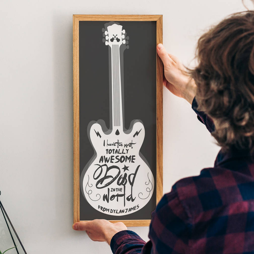 Personalised 'Awesome Dad' Guitar Print