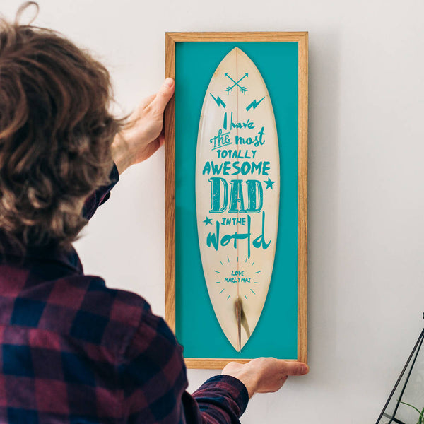 Personalised 'Awesome Dad' Surfboard Print