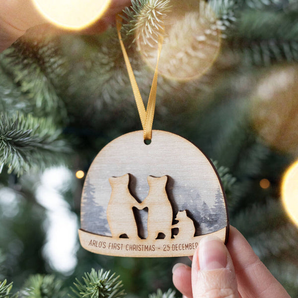 Personalised Baby's First Christmas Snow Globe Bauble