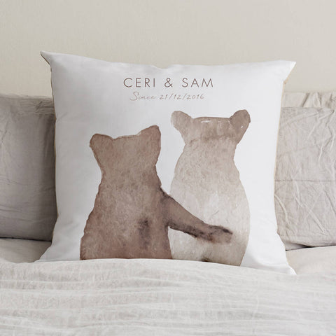 Personalised Bear Couple Cushion