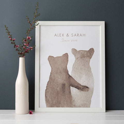 Personalised Bear Couple Print