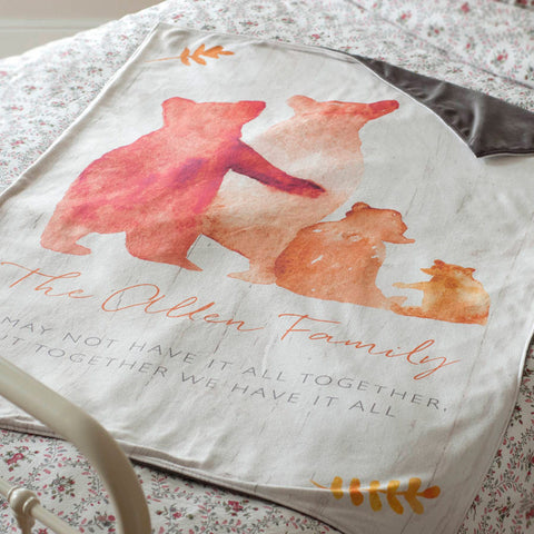 Personalised 'Bear Family' Luxury Blanket