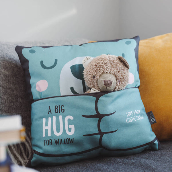 Personalised Bear Hug Cushion With Pocket