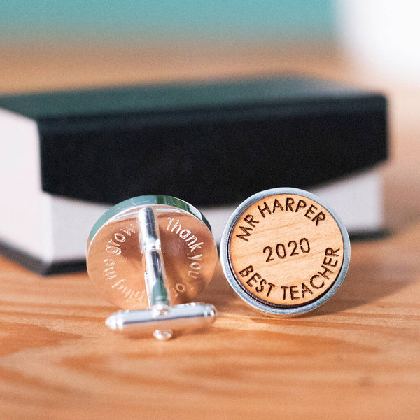 Personalised Best Teacher Wooden Cufflinks