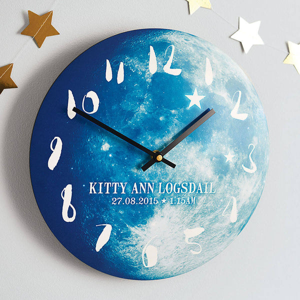 Personalised Phase of the Moon New Baby Clock