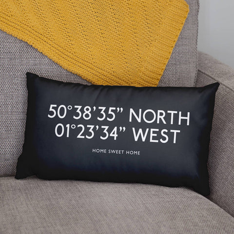 Personalised Bus Blind Coordinates Cushion For Home