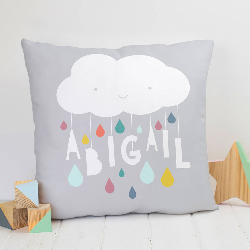 Personalised Cloud And Raindrops Name Cushion