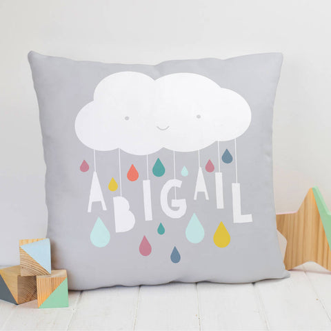 Personalised Cloud And Raindrops Nursery Name Cushion