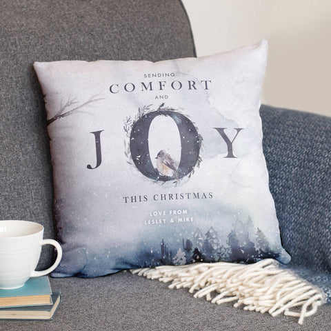 Personalised 'Comfort And Joy' Christmas Cushion Gift