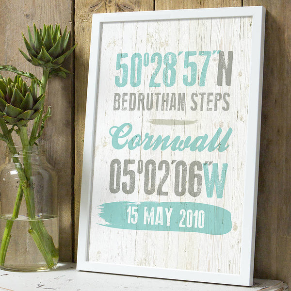 Personalised Coordinates Location Print