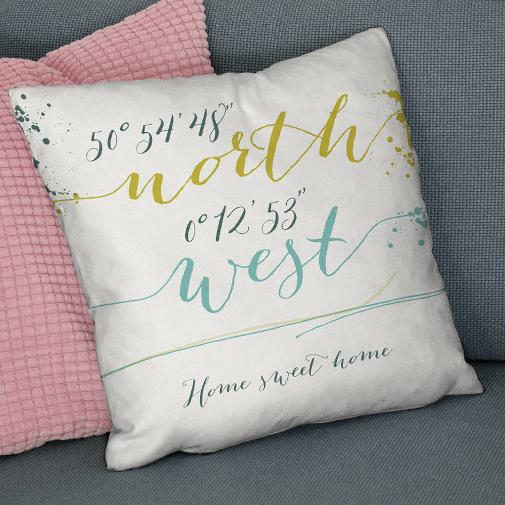 Personalised 'Script Style' Coordinates Location Cushion